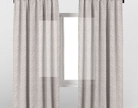 transparent Light brown linen curtains 3D model