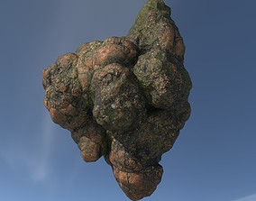 3D model Low poly Brown Floating Island Mossy Rock 05
