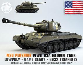 3D model Low Poly M26 Pershing Medium Tank