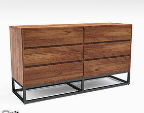 Logan Industrial 6-drawer Dresser by West Elm 3D model
