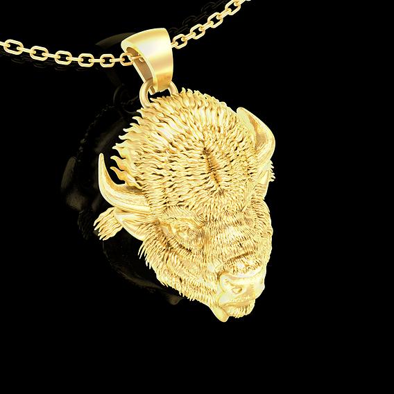 Bison Head Sculpture Pendant jewelry Gold 3D print model