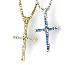 Cross Necklace Classic Diamond Pendant 3dmodel