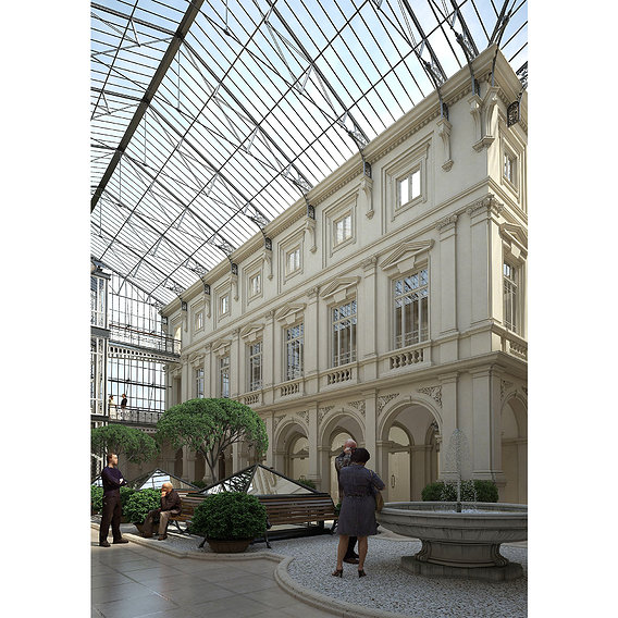 Restoration project of the building in Odessa. Atrium 2.