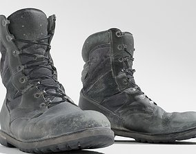 3D asset game-ready Worn military boots