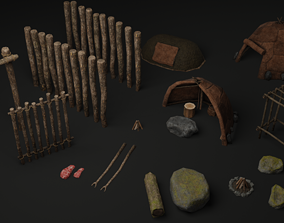 Neanderthal paleolithic primitive fortified 3D asset