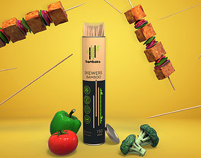 Bamboo sticks 3d advertisement with vegetables realtime