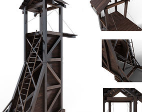 Tower siege medieval 3D model game-ready