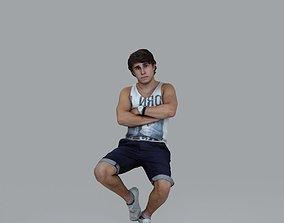 Casual Man Sitting Cross-Arm 3D model
