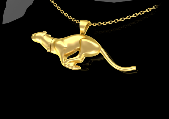 Figure Panther Pendant jewelry Gold 3D print model