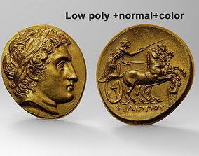 3D model Ancient coin High poly Mid poly and Low poly