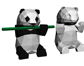3D printable model Low poly panda ready for paper craft