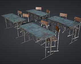 Classroom Chairs Old and New 3D asset