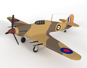 3D asset Low Poly Hawker Hurricane MK IIC WW2 Airplane