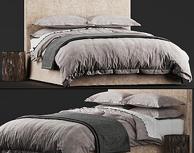 3D Restoration Hardware PARSONS SLIPCOVERED BED charcoal