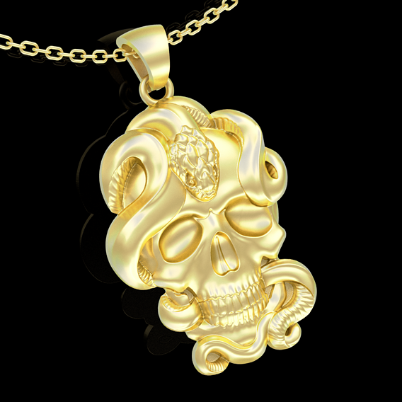 Skull and Snake Pendant jewelry Gold 3D print model