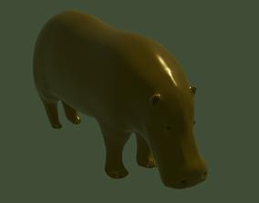 Hippo metalic statue 3D model