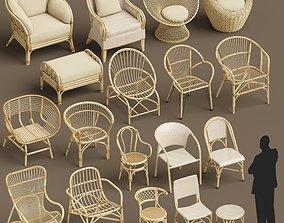 Wicker chair set A 3D model