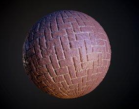 3D Herringbone Stone Pavers Seamless PBR Texture