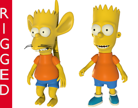 rigged Bart and rat boy 3D rigged characters models