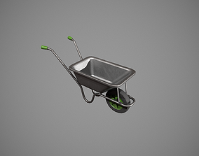 3D asset low-poly Metal-Green Wheelbarrow