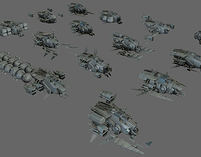 14 Spaceships Collection 3D model