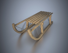 Wooden Sledge Winter Toy Low Poly PBR Game Ready 3D model