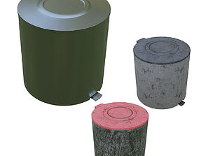 3D model Simple Trash Can with PBR Dirty Plastic and