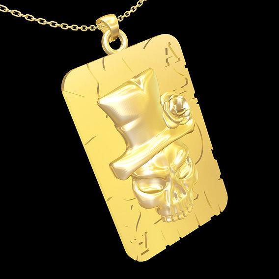 Rose Hood Skull pendant jewelry gold necklace medallion 3D print model