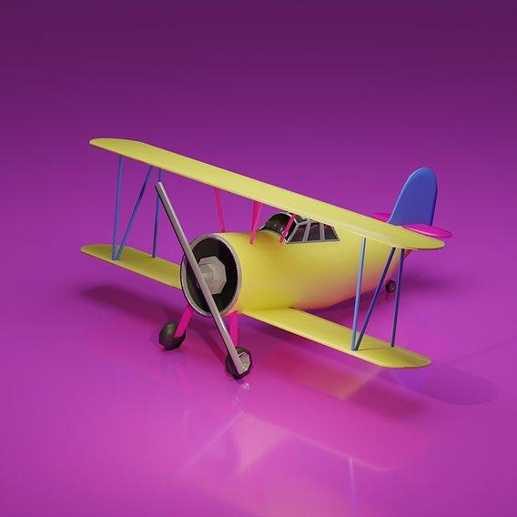 Low Poly Biplane