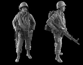 USA soldier with machine gun 1960 3D print model