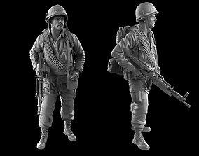 USA soldier with machine gun 1960 3D print model