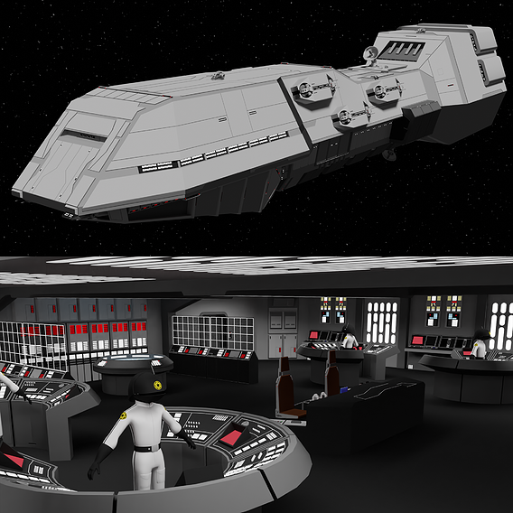 Dreadnought Class Heavy Cruiser with interior (bridge and hangar) - Star Wars - Fan Art