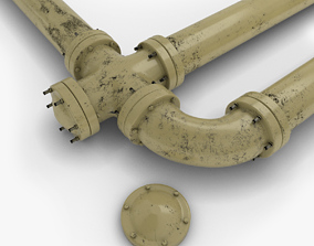 3D model low-poly Industrial Pipes