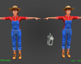 Farmer woman 3-high and low Poly 3D asset