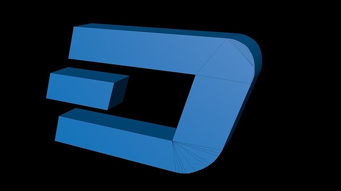 dash-crypto-currency-3d-logo-3d-model-ob