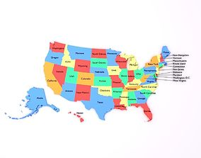 3D asset Map of the United States of America USA