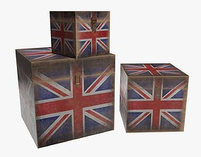 Wooden box trunk decor lock 3D model
