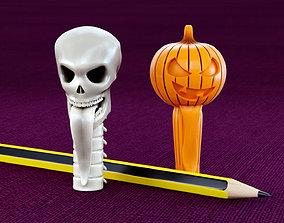Skull and Pumpkin Pencil Caps 3D printable model