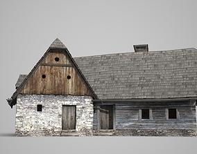 Ancient building L-type farmhouse dwelling 3D model