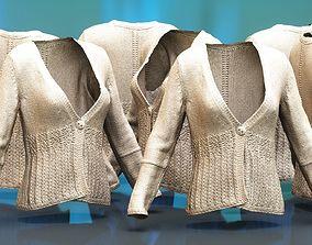 Knit Wool Cardigan Beige 3D asset