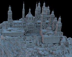 3D Huge monastery on mountain with bridge