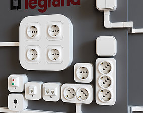 3D Legrand Quteo surface-mounted sockets and switches
