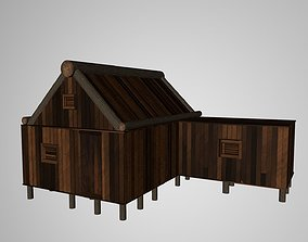 Old Wooden House 3D model animated