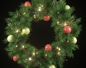 Christmas wreath with lights and ornaments 3D model
