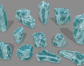 3D asset VR / AR ready winter snow ice set