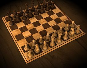 Wooden Chess Set maya 3D model