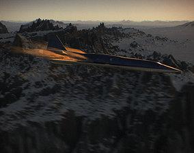 Sci-Fi Airplane supersonic futuristic turbojet 3D model 2