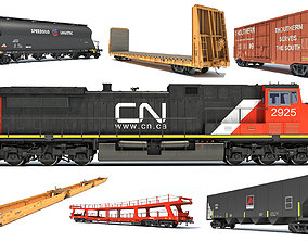 3D model Canadian National Freight Train