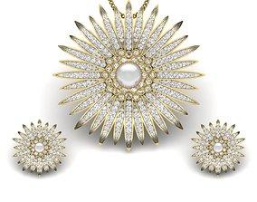 Women pearl pendant-earrings set 3dm render detail