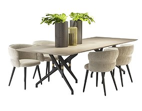 TORSO TABLE 837 TR and POTOCCO COULISSE ARMCHAIR 3D